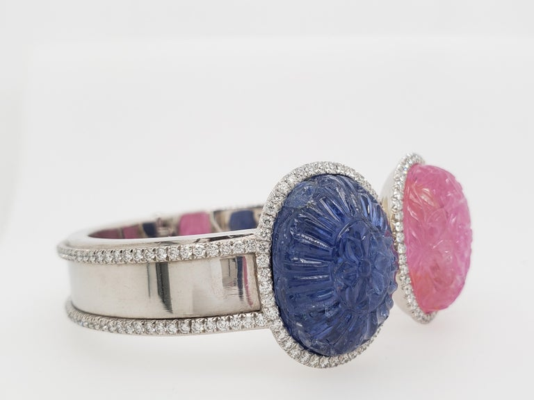Oval Cut Burma Sapphire and Ruby Hand Carved with Diamond Bracelet Cuff 'Bangle' For Sale