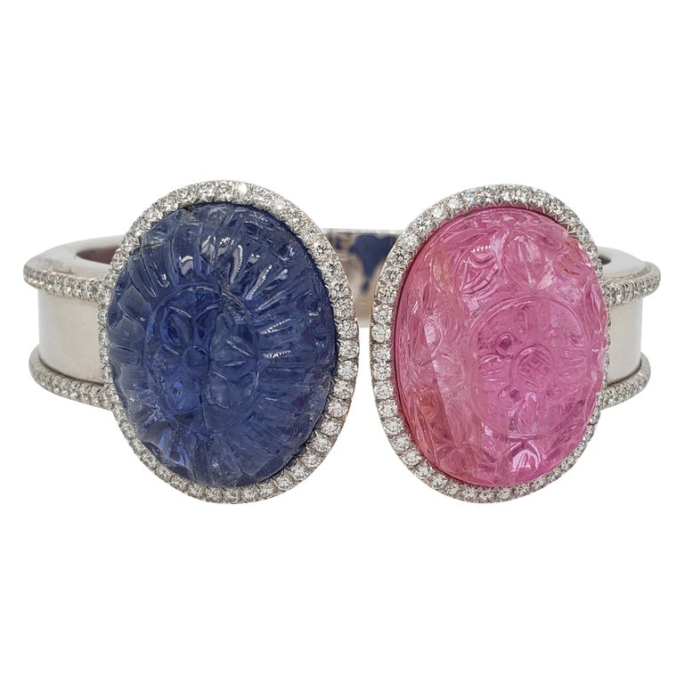 Burma Sapphire and Ruby Hand Carved with Diamond Bracelet Cuff 'Bangle' For Sale