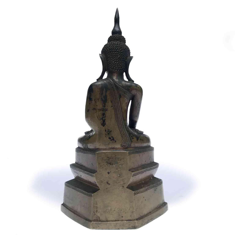Burma Shan 18th Century Bronze Buddha Seated on a Three Tiers Base For Sale 8