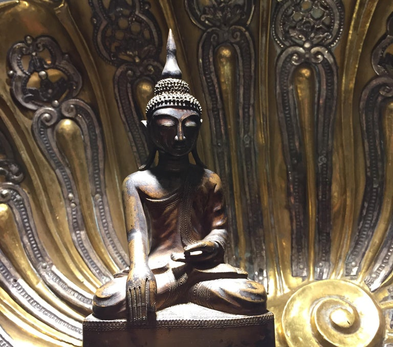 Cast Burma Shan 18th Century Bronze Buddha Seated on a Three Tiers Base For Sale