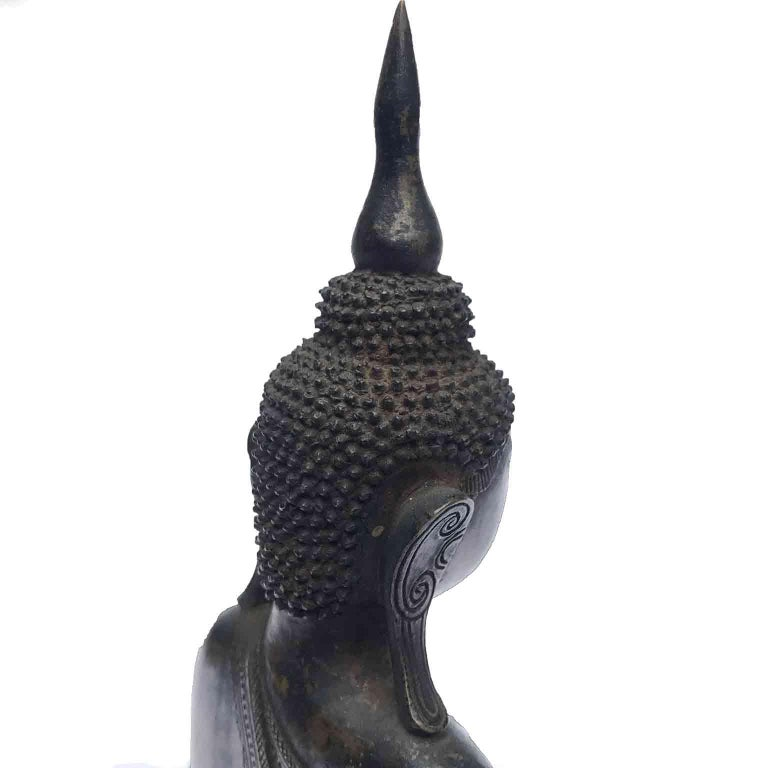 Burma Shan 18th Century Bronze Buddha Seated on a Three Tiers Base For Sale 3