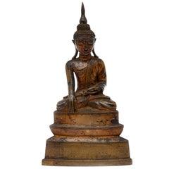 Burma Shan 18th Century Bronze Buddha Seated on a Three Tiers Base