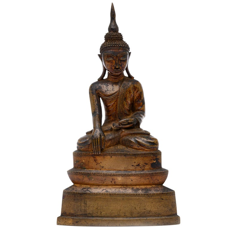 Burma Shan 18th Century Bronze Buddha Seated on a Three Tiers Base For Sale