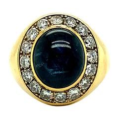 Burma Star Sapphire & Diamonds Men's Ring, Circa 1970