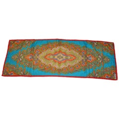 Burmel Red Border With Turquoise Multicolor Palseys Silk Scarf