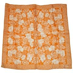 "Burmel ""Warm Tangerine & Ivory"" Multi Floral Silk Scarf"