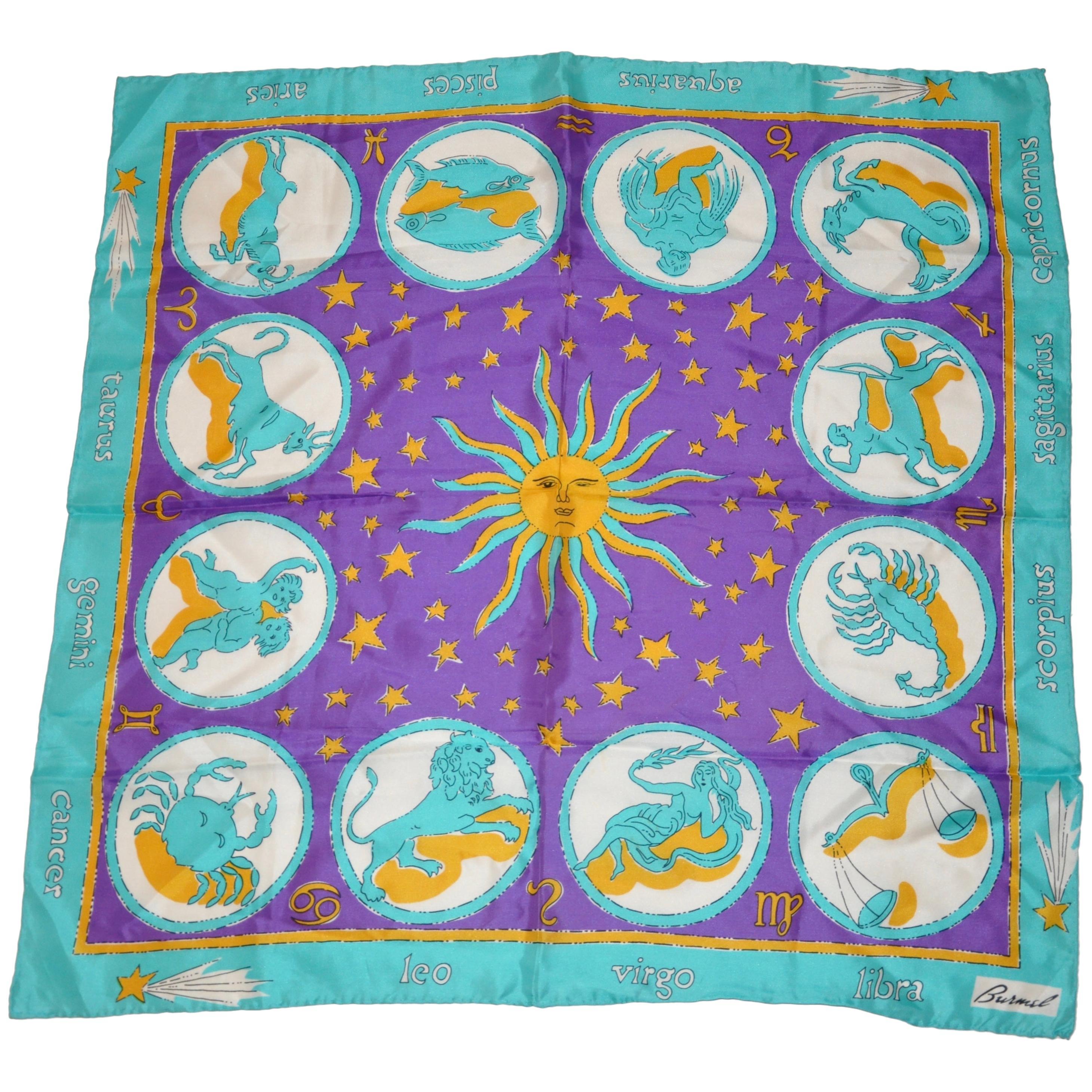 "Burmel Whimsical ""Astrological Signs"" Silk Jacquard Scarf"