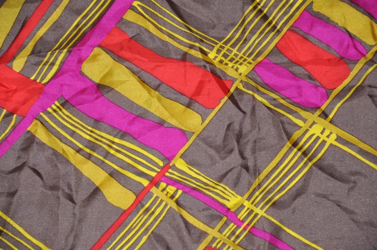 Brown Burmel's Red Edges with Vivid MultiColor Plaid Silk Scarf For Sale