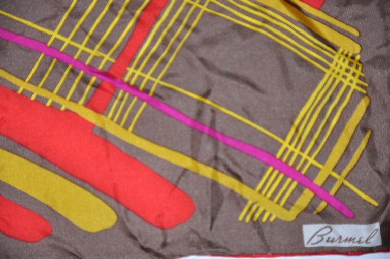 Women's or Men's Burmel's Red Edges with Vivid MultiColor Plaid Silk Scarf For Sale