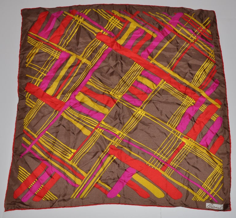 Burmel's Red Edges with Vivid MultiColor Plaid Silk Scarf For Sale 2