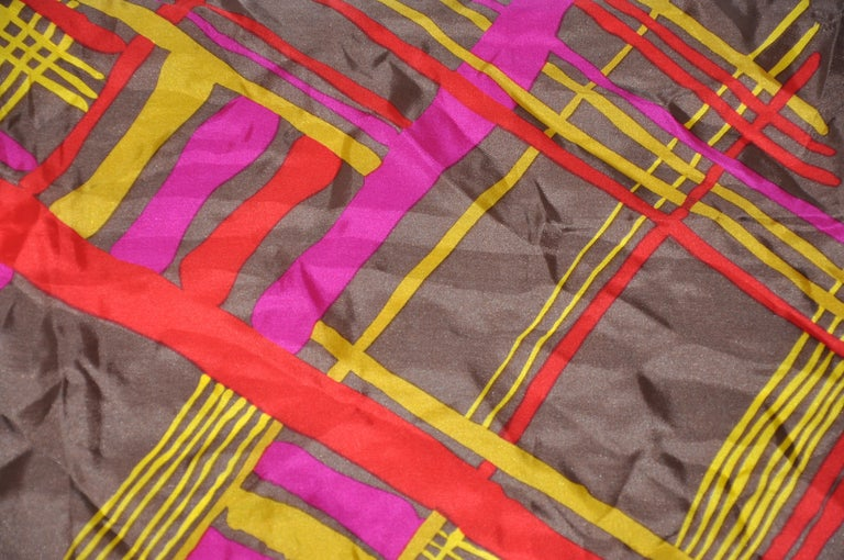 Burmel's Red Edges with Vivid MultiColor Plaid Silk Scarf For Sale 3