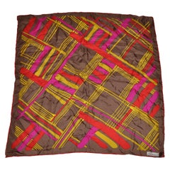 Burmel's Red Edges with Vivid MultiColor Plaid Silk Scarf