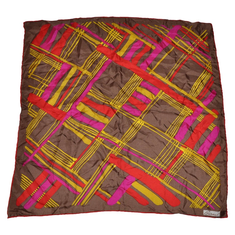 Burmel's Red Edges with Vivid MultiColor Plaid Silk Scarf For Sale