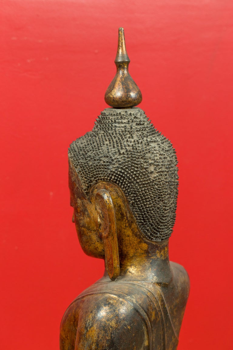 Burmese 17th Century Dry Lacquered and Gilt Buddha Calling the Earth to Witness For Sale 7