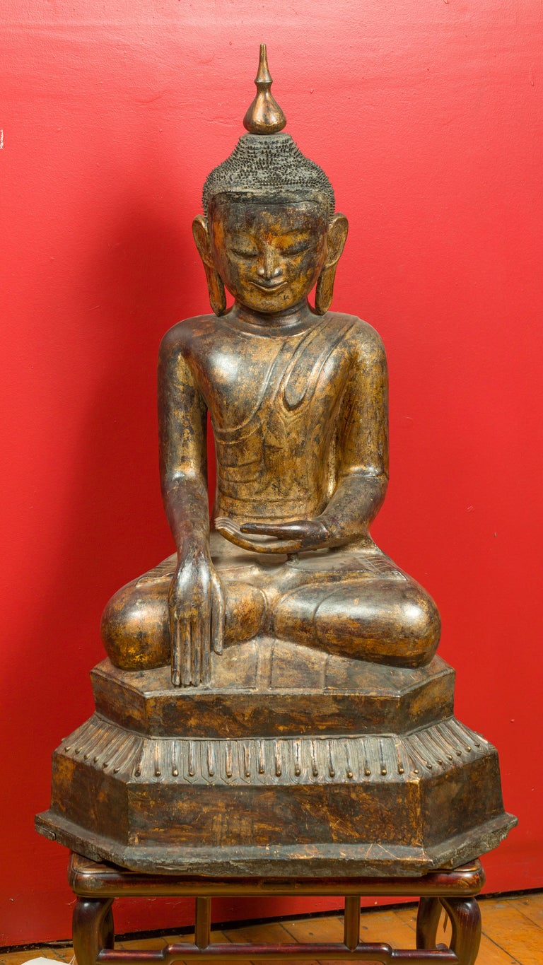 18th Century and Earlier Burmese 17th Century Dry Lacquered and Gilt Buddha Calling the Earth to Witness For Sale