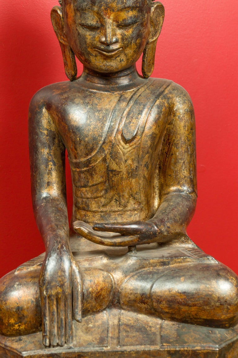 Wood Burmese 17th Century Dry Lacquered and Gilt Buddha Calling the Earth to Witness For Sale