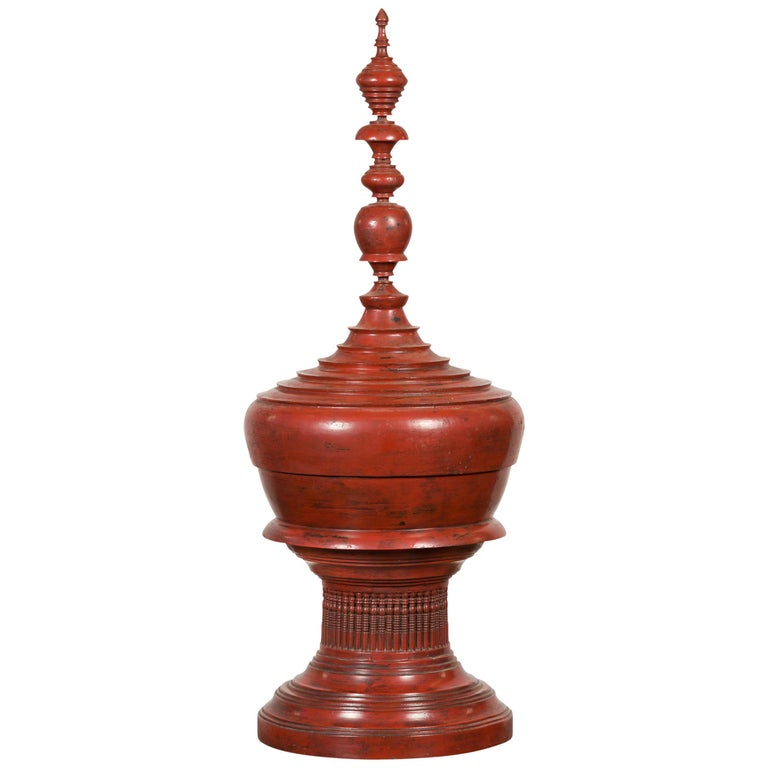 Burmese 19th Century Cinnabar Palembang Lacquer Lidded Temple Offering Bowl For Sale