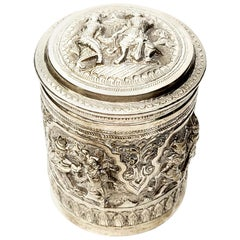 Burmese 950 Silver Betel Box Canister