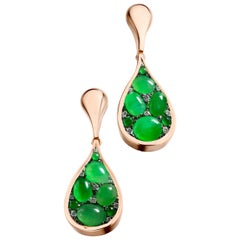 Burmese A-Type Jadeite and Diamond Pave Earrings