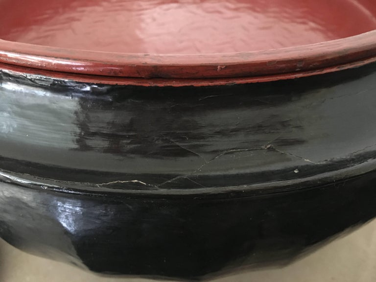 Wood Burmese Black Lacquered Offering Bowl For Sale
