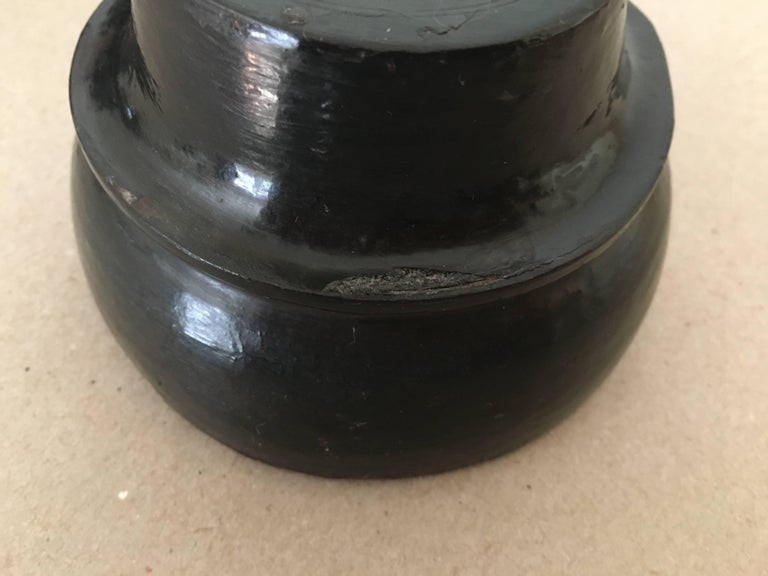 Burmese Black Lacquered Offering Bowl For Sale 1