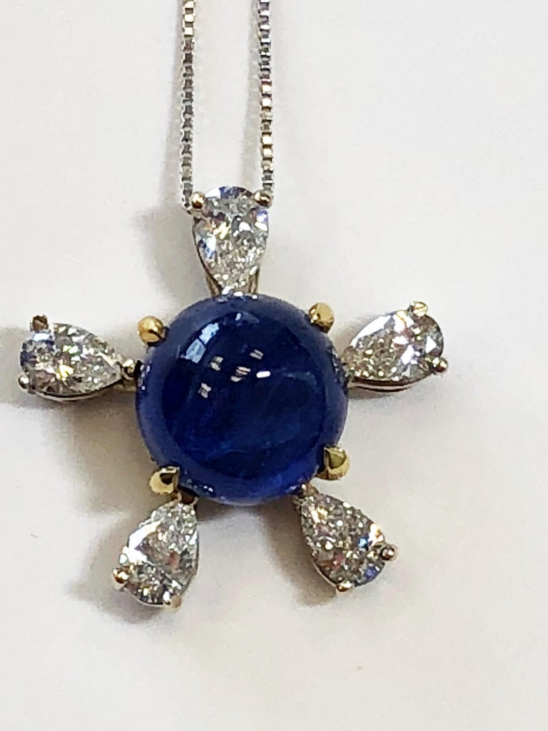 Round Cut Burmese Blue Sapphire and White Diamond Pendant Necklace in 18 Karat Gold For Sale