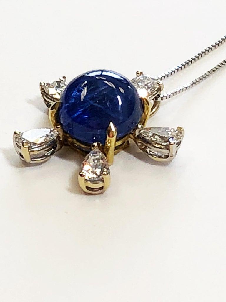 Women's or Men's Burmese Blue Sapphire and White Diamond Pendant Necklace in 18 Karat Gold For Sale