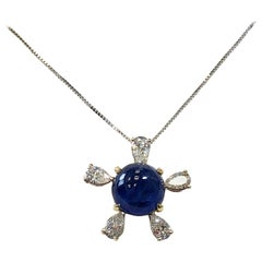 Burmese Blue Sapphire and White Diamond Pendant Necklace in 18 Karat Gold