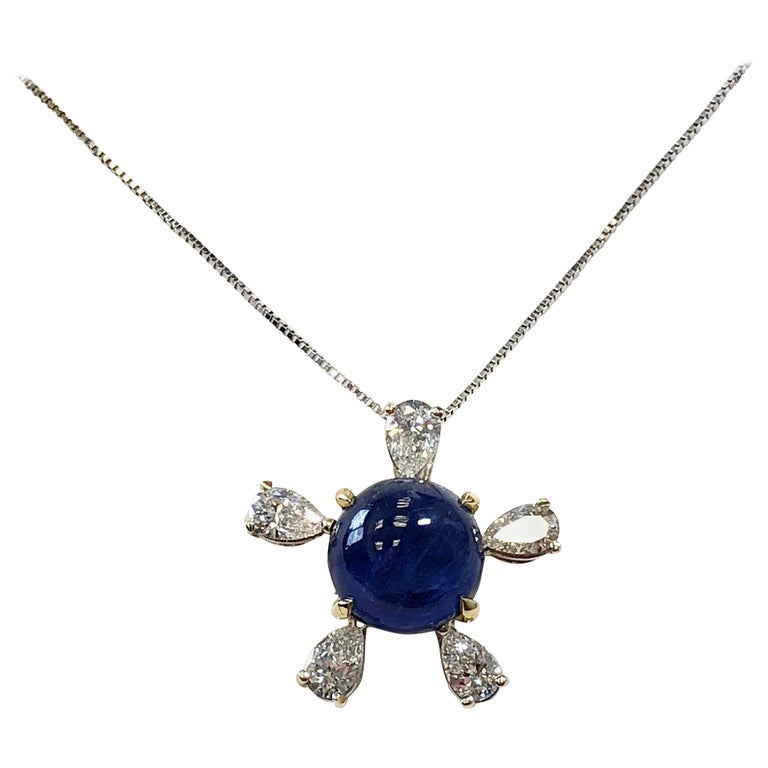Burmese Blue Sapphire and White Diamond Pendant Necklace in 18 Karat Gold For Sale