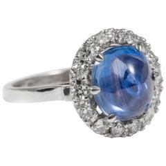Burmese Blue Sapphire Ring with Diamonds in 18 Karat White Gold