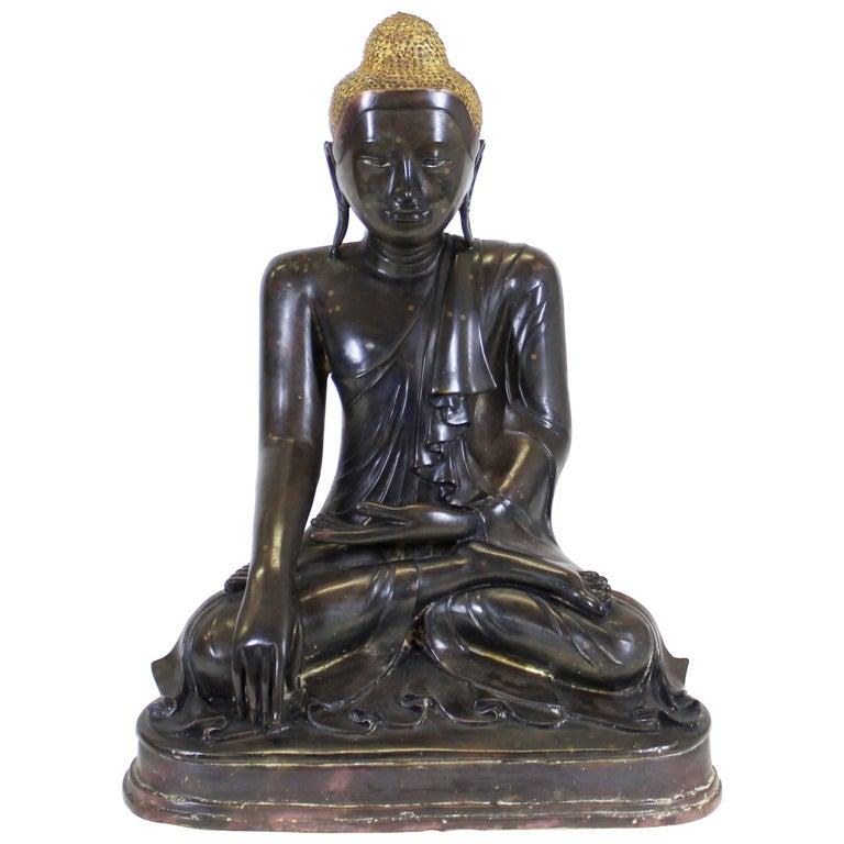 Burmese Bronze Buddha Sculpture For Sale