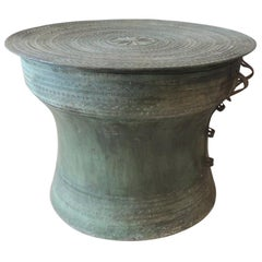 Burmese Bronze Karen Rain Drum with Intricate Decoration on Top and Sides