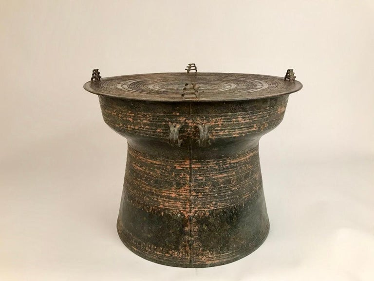 Burmese Bronze Rain Drum Side Table For Sale 4