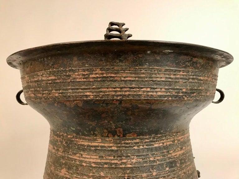 Burmese Bronze Rain Drum Side Table For Sale 5