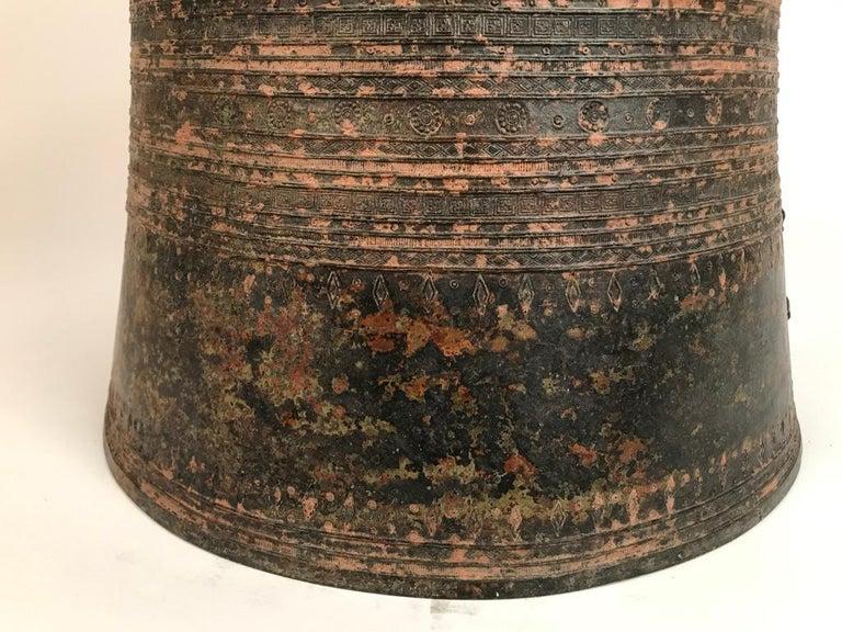 Burmese Bronze Rain Drum Side Table For Sale 6
