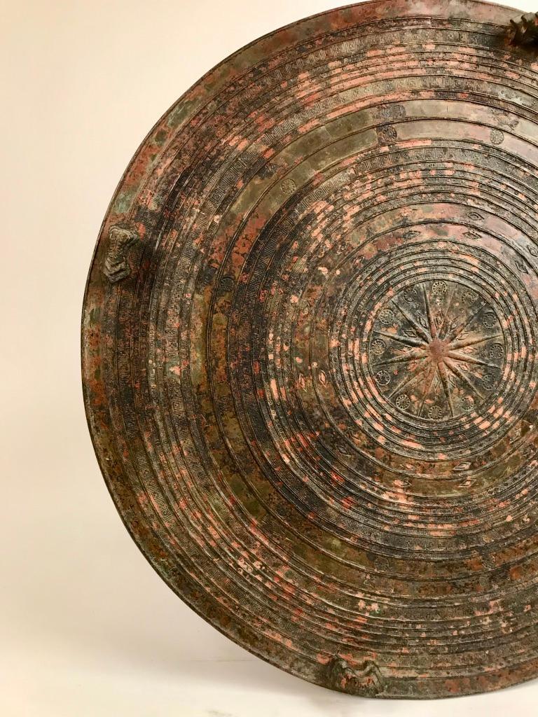 Burmese Bronze Rain Drum Side Table For Sale 9