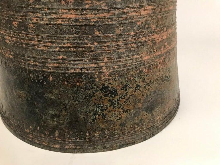 Tribal Burmese Bronze Rain Drum Side Table For Sale