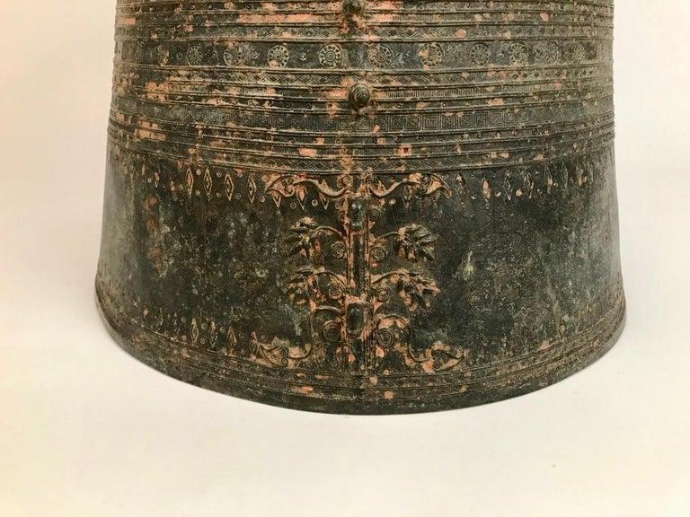 Southeast Asian Burmese Bronze Rain Drum Side table For Sale