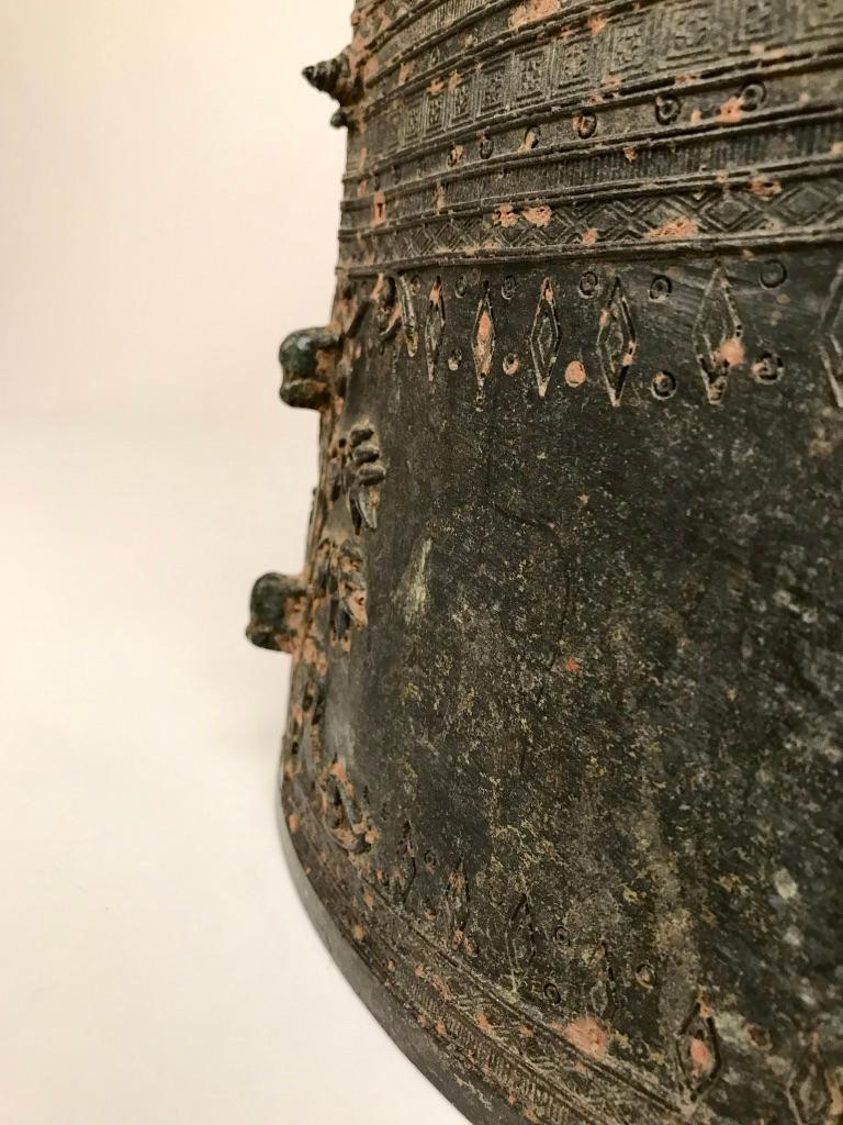 Cast Burmese Bronze Rain Drum Side table For Sale