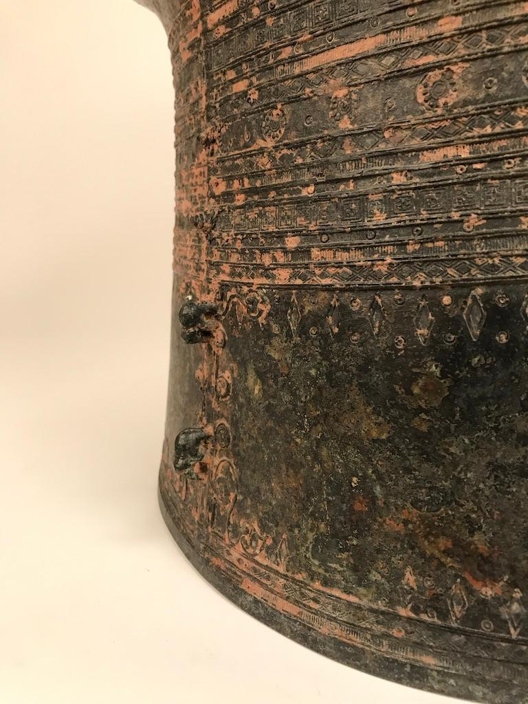 Burmese Bronze Rain Drum Side Table In Good Condition For Sale In Stamford, CT