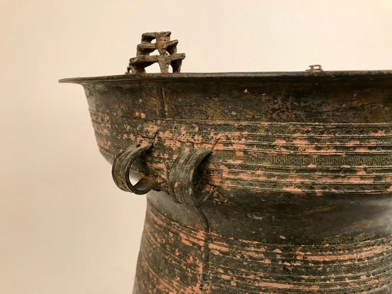 Burmese Bronze Rain Drum Side Table For Sale 3