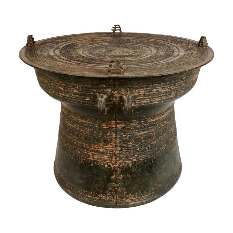 Burmese Bronze Rain Drum Side Table For Sale