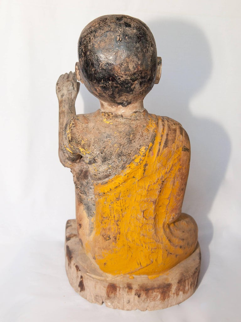 Burmese Buddhist Wood Carving, Sitting Monk or Teacher, Early 20th Century For Sale 8