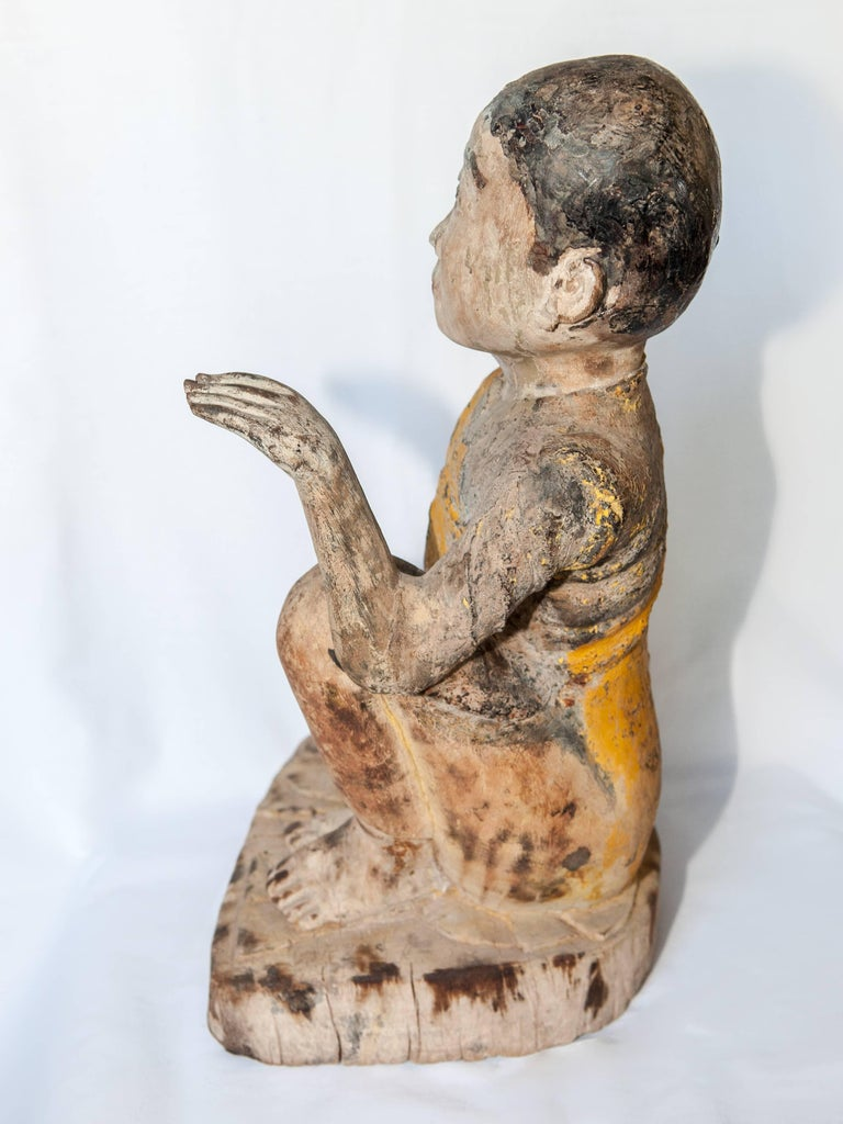 Burmese Buddhist Wood Carving, Sitting Monk or Teacher, Early 20th Century For Sale 10