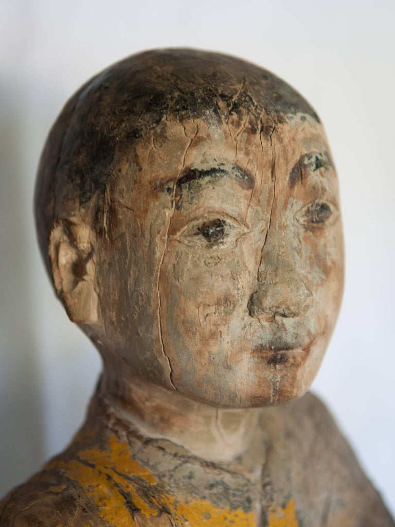 Folk Art Burmese Buddhist Wood Carving, Sitting Monk or Teacher, Early 20th Century For Sale