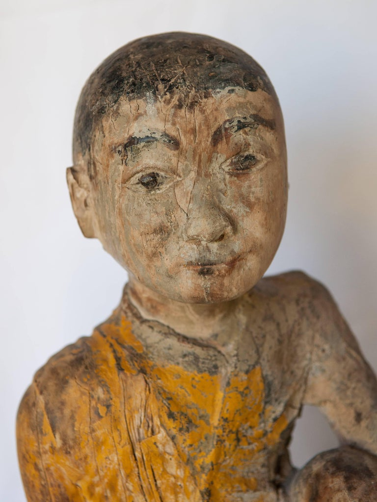 Hand-Carved Burmese Buddhist Wood Carving, Sitting Monk or Teacher, Early 20th Century For Sale