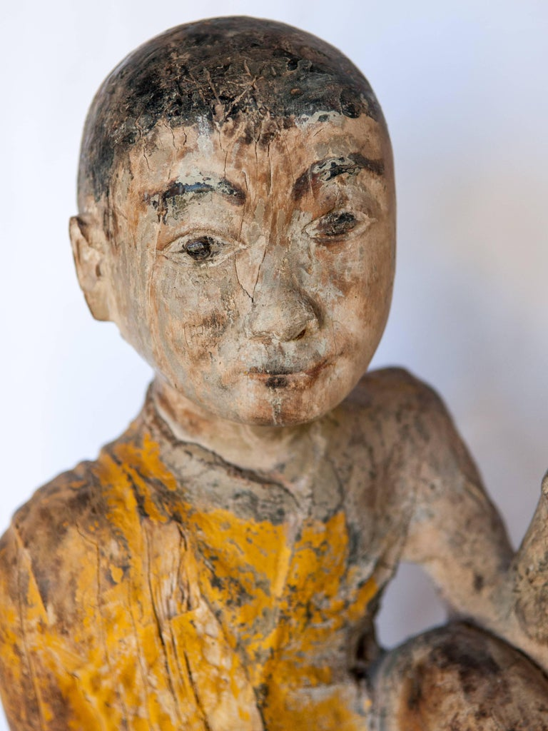 Burmese Buddhist Wood Carving, Sitting Monk or Teacher, Early 20th Century For Sale 1