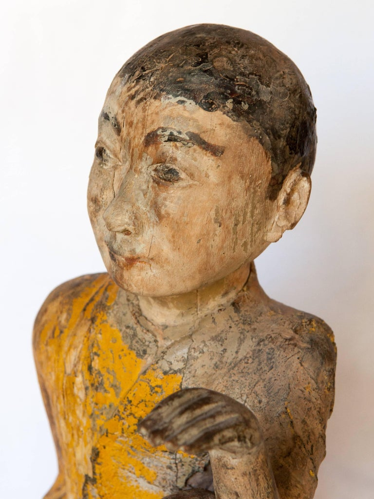Burmese Buddhist Wood Carving, Sitting Monk or Teacher, Early 20th Century For Sale 2