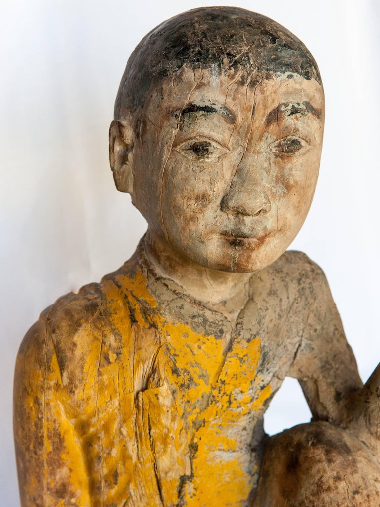 Burmese Buddhist Wood Carving, Sitting Monk or Teacher, Early 20th Century For Sale 3
