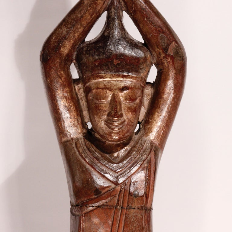 Lacquered Burmese Carved Wood Hermit Sumedha Buddhist Image, 19th Century For Sale